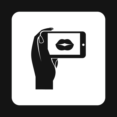 taking photo: Woman taking photo of lips on smartphone icon in simple style on a white background vector illustration Illustration