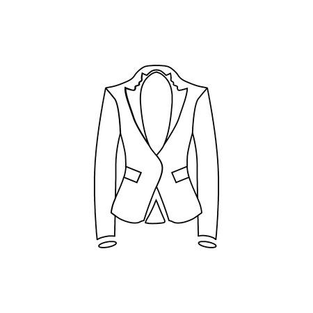 白い背景のベクトル図に分離されたアウトライン スタイルの女性ジャケット アイコン