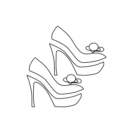 Elegant women high heel shoe icon in outline style isolated on white background vector illustration