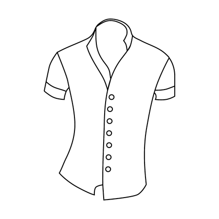 white blouse: Woman blouse, short sleeve icon in outline style isolated on white background vector illustration