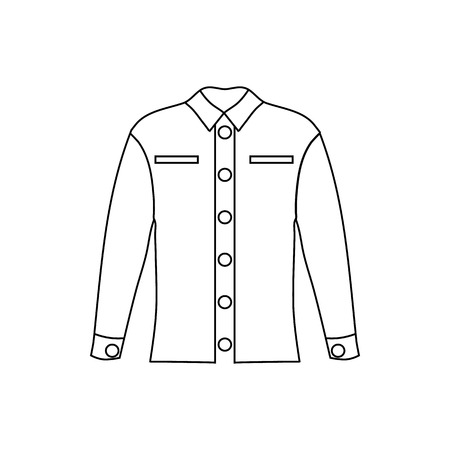 white blouse: Woman blouse icon in outline style isolated on white background vector illustration Illustration