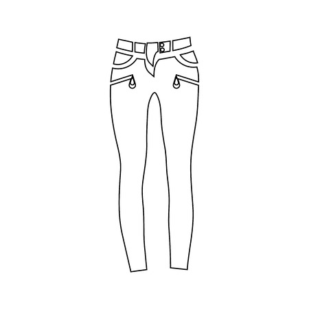 undressing: Classic women jeans icon in outline style isolated on white background vector illustration