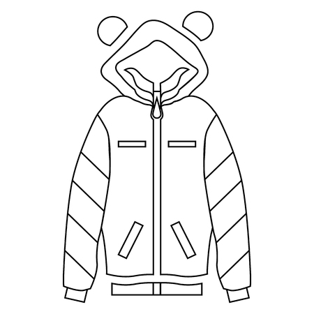 zipper hooded sweatshirt: Woman hoodie icon in outline style isolated on white background vector illustration