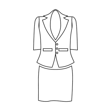 pocket size: Ladies suit for business women icon in outline style isolated on white background vector illustration