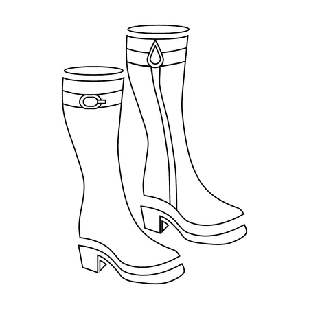 women in boots: Women boots icon in outline style isolated on white background vector illustration
