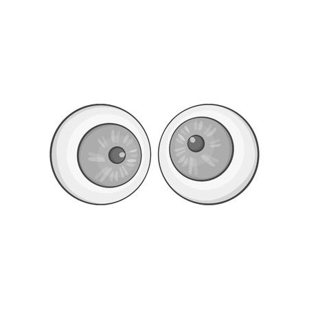 slant: Slant eyes icon in black monochrome style isolated on white background. Trick symbol vector illustration Illustration