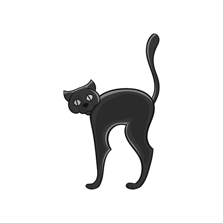Black Cat Icon In Black Monochrome Style Isolated On White
