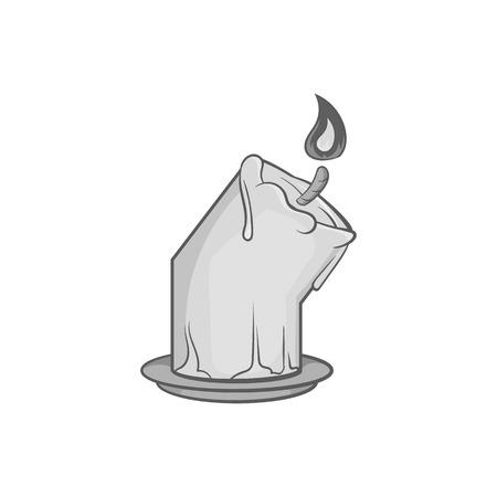 Melting candle icon in black monochrome style isolated on white background. Light symbol vector illustration