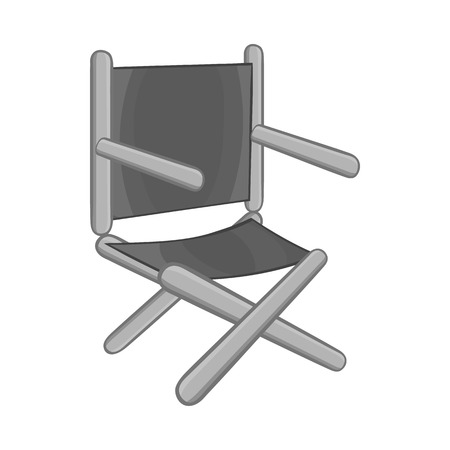 director's chair: Directors chair icon in black monochrome style isolated on white background. Furniture symbol vector illustration