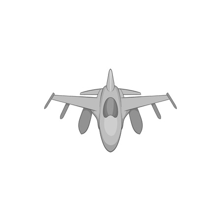 Military aircraft icon in black monochrome style isolated on white background. Fly symbol vector illustration