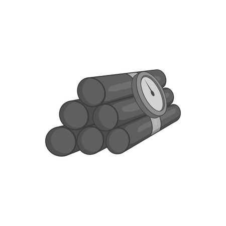 dynamite: Dynamite icon in black monochrome style isolated on white background. Explosion symbol vector illustration