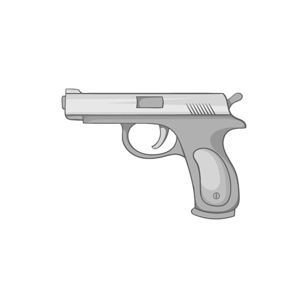 Gun icon in black monochrome style isolated on white background. Weapons symbol vector illustration