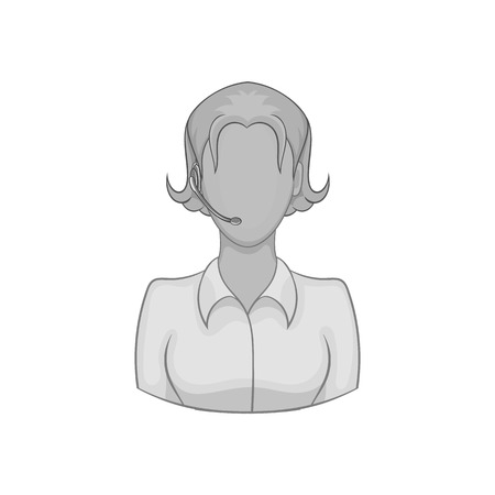 Female consultant icon in black monochrome style isolated on white background. Help symbol vector illustration Illustration