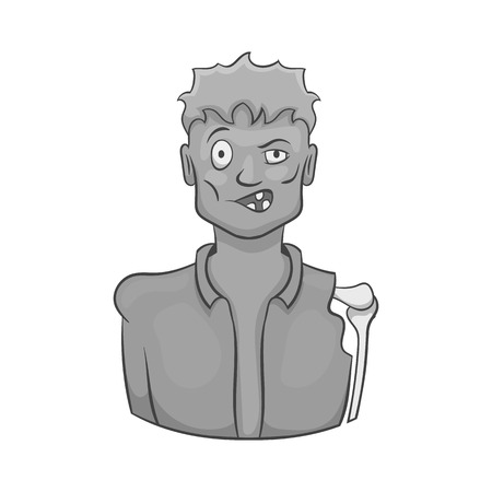 Zombie icon in black monochrome style isolated on white background. Dead symbol vector illustration
