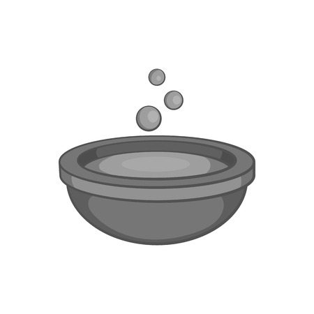brew: Cauldron of brew icon in black monochrome style isolated on white background. Cooking symbol vector illustration