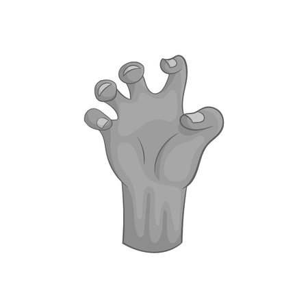 diabolic: Zombie hand icon in black monochrome style isolated on white background. Dead symbol vector illustration Illustration