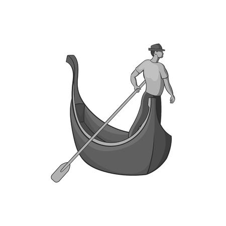 gondolier: Gondola and gondolier icon in black monochrome style isolated on white background. Swimming symbol vector illustration