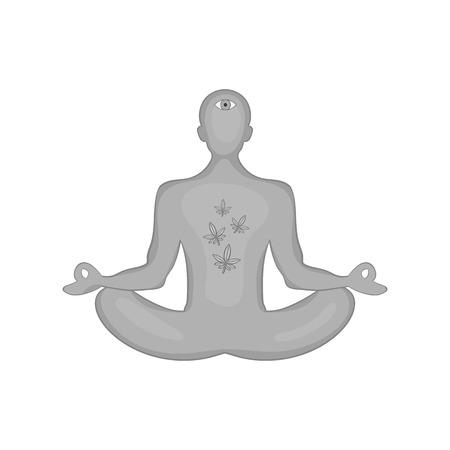 Man in lotus position had smoked marijuana icon in black monochrome style isolated on white background. Drug symbol vector illustration