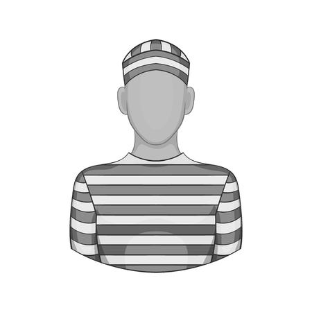 imprison: Prisoner icon in black monochrome style isolated on white background. Punishment symbol vector illustration Illustration