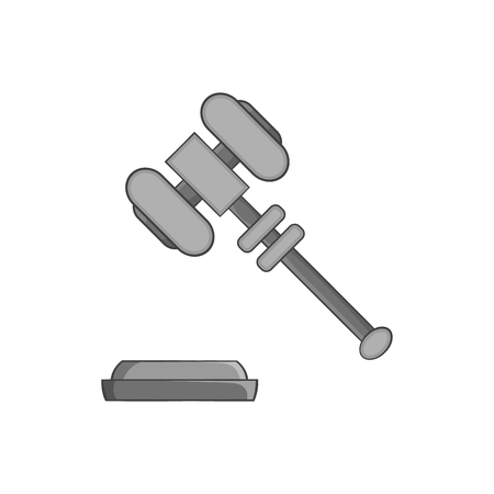 supreme court: Judges gavel icon in black monochrome style isolated on white background. Blow symbol vector illustration