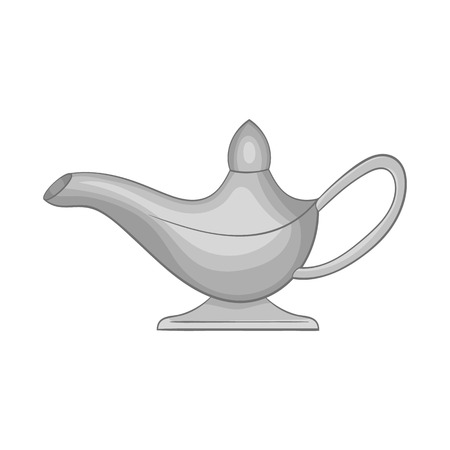 genie in a bottle: Magic lamp icon in black monochrome style isolated on white background. Trick symbol vector illustration Illustration