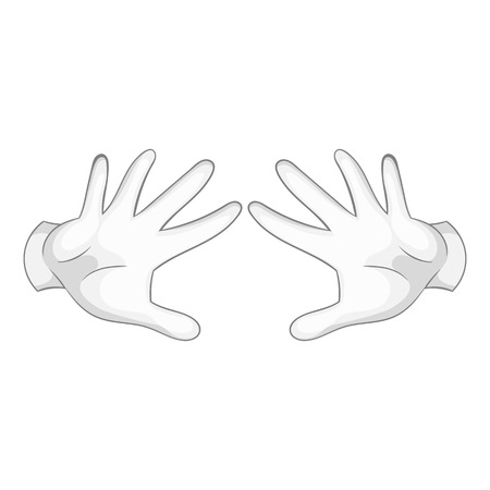 gesticulation: Two hands motion icon in black monochrome style isolated on white background. Magic symbol vector illustration Illustration