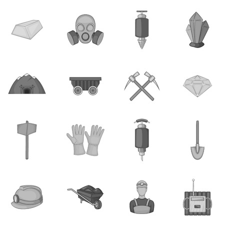 mining icons: Mining icons set in black monochrome style. Quarrying industry set collection vector illustration Illustration