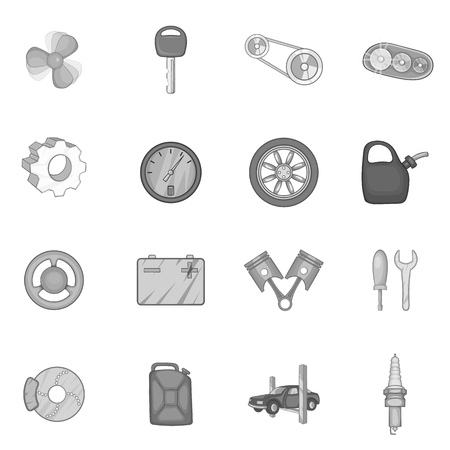 spare: Auto spare parts icons set in black monochrome style. Car maintenance set collection vector illustration Illustration