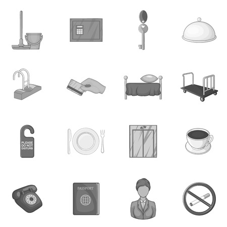 accommodation: Hotel icons set in black monochrome style. Hotel accommodation services set collection vector illustration Illustration