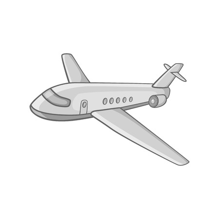 fuselage: Passenger airliner icon in black monochrome style on a white background vector illustration