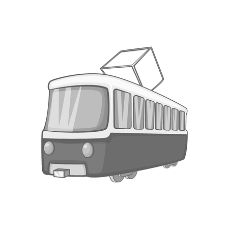 streetcar: Tram icon in black monochrome style on a white background vector illustration