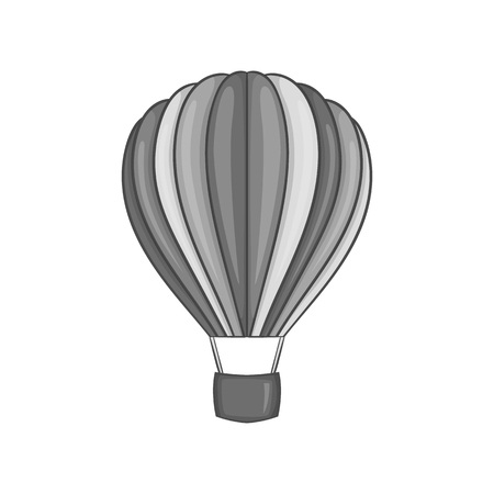 Air balloon icon in black monochrome style on a white background vector illustration