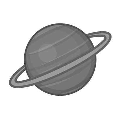 saturn rings: Sarurn planet icon in black monochrome style on a white background vector illustration
