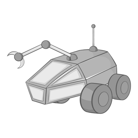 Mars exploration rover icon in black monochrome style on a white background vector illustration