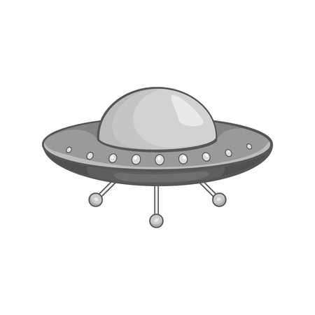 abduction: Ufo spaceship icon in black monochrome style on a white background vector illustration