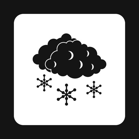 sleet: Clouds and snow icon in simple style isolated on white background. Weather symbol vector illustration