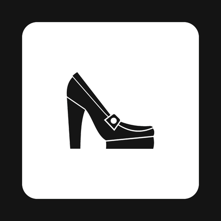 women's shoes: Womens shoes on platform icon in simple style isolated on white background. Wear symbol vector illustration