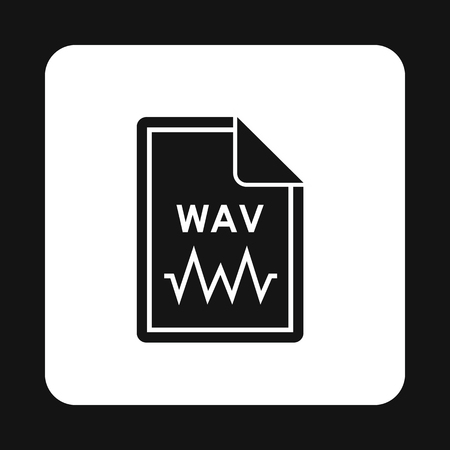 wav: File WAV icon in simple style isolated on white background. Document type symbol vector illustration Illustration