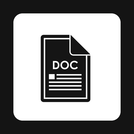 doc: File DOC icon in simple style isolated on white background. Document type symbol vector illustration