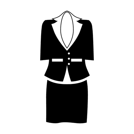 white clothes: Female office suit icon in simple style isolated on white background. Clothing symbol vector illustration