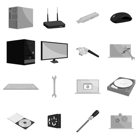 iron fan: Computer hardware and technology icons set in black monochrome style. Computer parts set collection vector illustration