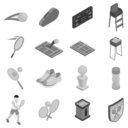 lawn chair: Tennis icons set in black monochrome style. Tennis sport elements set collection vector illustration