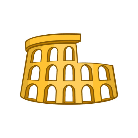 Roman Coliseum icon in cartoon style isolated on white background vector illustration