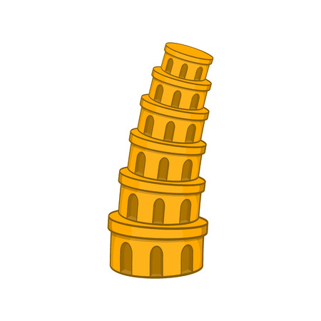 Pisa Tower icon in cartoon style isolated on white background vector illustration