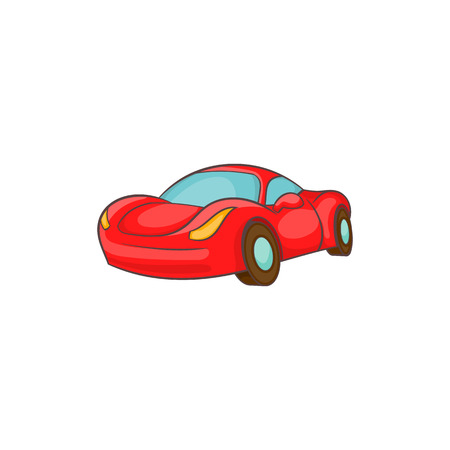 Small red italian car icon in cartoon style isolated on white background vector illustration Illustration