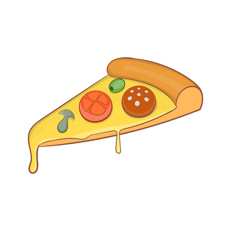 Pizza slice icon in cartoon style isolated on white background vector illustration