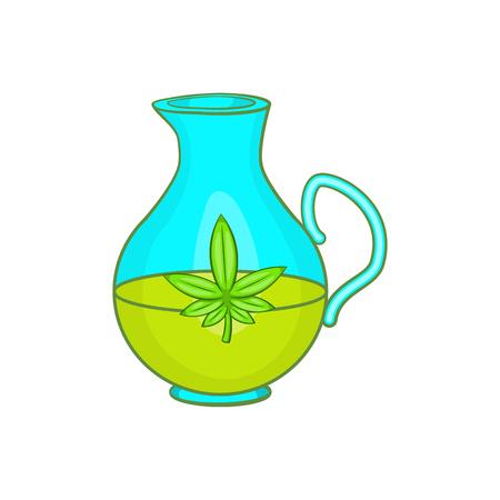 Orgánica icono de aceite de cáñamo en el estilo de dibujos animados aislado en el fondo blanco ilustración vectorial