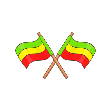 reefer: Rastafarian crossed flags icon in cartoon style isolated on white background vector illustration
