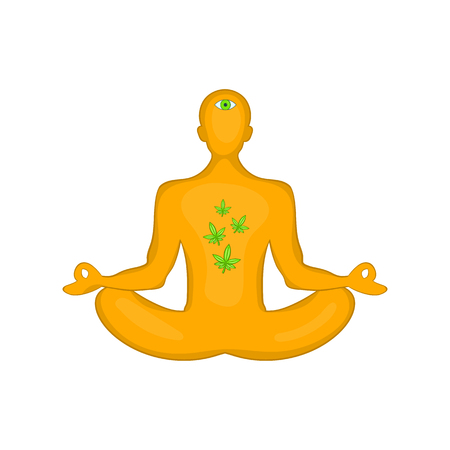 Man in lotus position and marijuana leaves icon in cartoon style isolated on white background vector illustration
