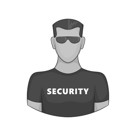 serious: Security guard icon in black monochrome style on a white background vector illustration